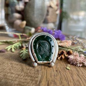 Artisan made horseshoe shaped Green Onyx Ring